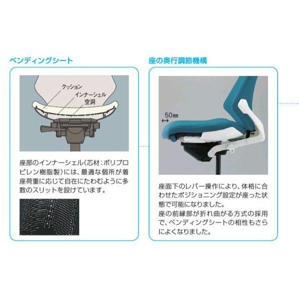 イトーキ エフチェア メッシュバック ハイバック ブラックフレーム ブラック樹脂脚 プレーンメッシュ T型肘付 背座:ネイビーブルー 1脚 (直送品)