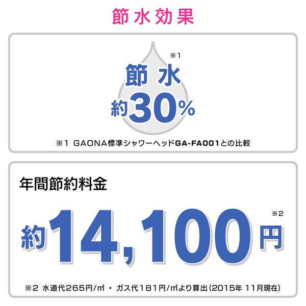 ガオナ シャワーヘッド 大型噴板 (節水30% 低水圧対応 日本製) GA-FA005 (直送品)