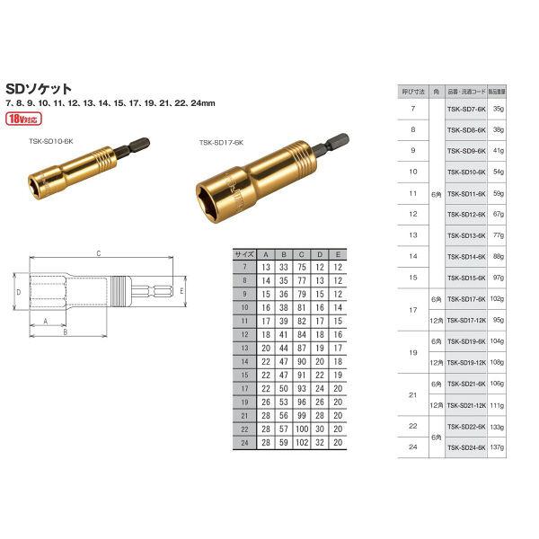 タジマ SDソケット22 6角 TSK-SD22-6K 1セット(12個) TJMデザイン (直送品)