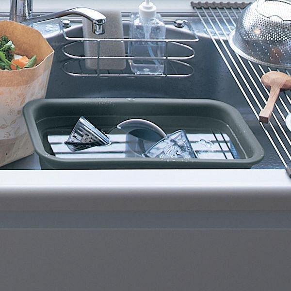 折畳シリコーンゴム製スリム洗い桶 グレー