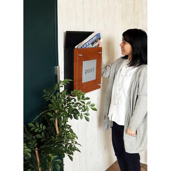 ヤマソロ Clein 壁掛けポスト 幅345×奥行130×高さ366mm ブラック 73-080 1台(直送品)