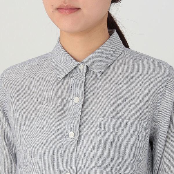 無印 洗いざらしストライプシャツ 婦人M