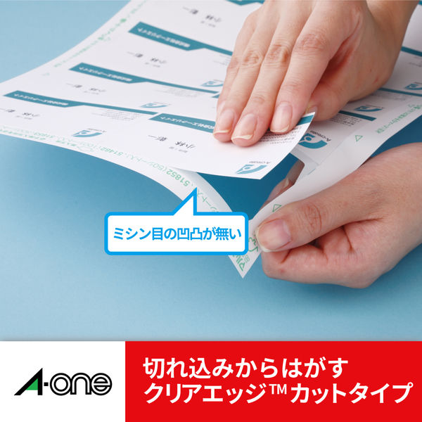 エーワン マルチカード 名刺用紙 クリアエッジ 両面 プリンタ兼用 マット紙 白 標準 A4 10面 1袋(10シート入) 51481