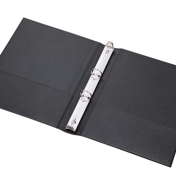 合皮製リングファイル 丸型2穴 A4タテ 3冊 アスクル ブラック