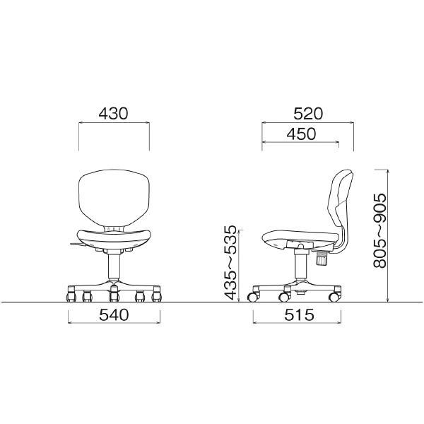 アイリスチトセ BITシリーズ オフィスチェア スタンダード レザー張り 肘無し グレー BIT-EX43-V-Gr 1脚 (直送品)