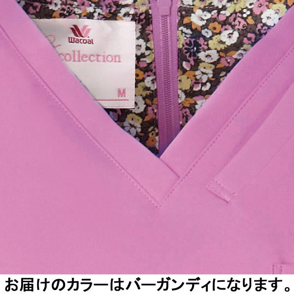 フォーク 医療白衣 ワコールHIコレクション レディススクラブ(後ろジップ) HI700-16 バーガンディー S (直送品)