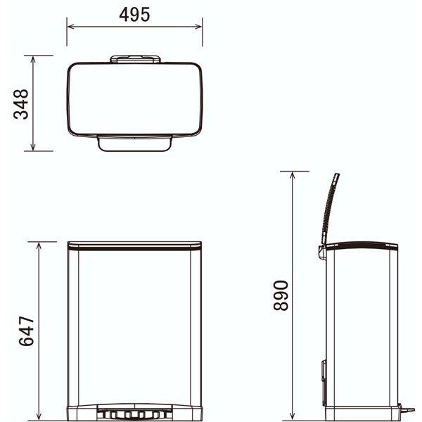 ステンレスペダル式ゴミ箱 角型ヨコ50L