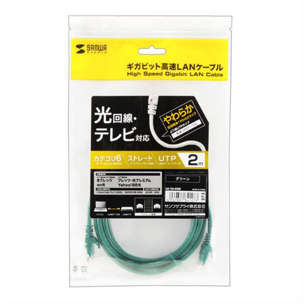 サンワサプライ カテゴリ6UTP LANケーブル LA-Y6-02G 1本 (直送品)