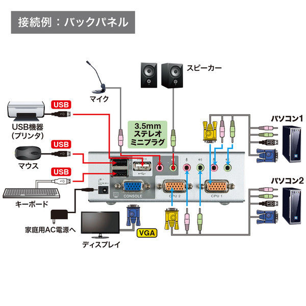 サンワサプライ USB・PS/2コンソール両対応パソコン自動切替器(2:1) SW-KVM2HVCN 1個 (直送品)