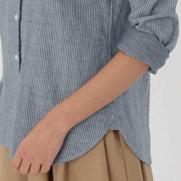 無印 二重ガーゼストライプシャツ 婦人M