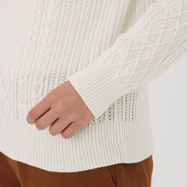 ... 無印 ケーブル柄セーター 婦人 L 白 ...
