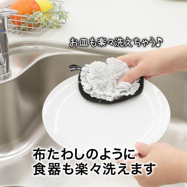 細かい所まで洗えるキッチンスポンジグレー