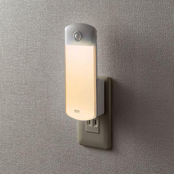 サンワサプライ 人感センサーライト LED 壁コンセント用 USB-LED01 1個(直送品)