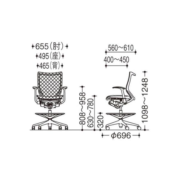 バロン ハイチェア ローバック 固定肘 背・座スタンダード シルバー×ホワイト ダークブルー CP58CW FDH4(直送品)