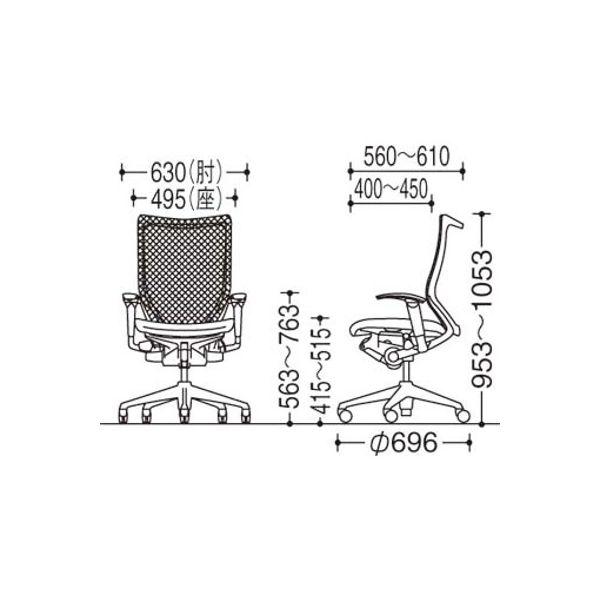 CP86DW FGR5 バロン チェア ハイバック ハンガー 可動肘 背グラデーションメッシュ・座クッション シルバー×ホワイト ライムグリーン(直送品)