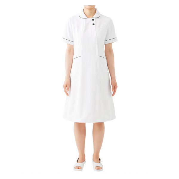 住商モンブラン ラウンドカラーワンピース ナースワンピース 医療白衣 半袖 ホワイト×ネイビー L 73-1958 (直送品)