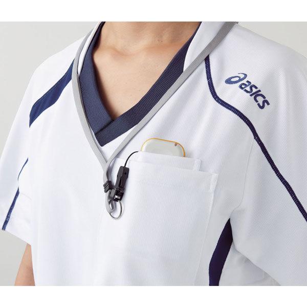 住商モンブラン アシックス スクラブジャケット(男女兼用) 半袖 コスモスピンク×ネイビー LL CHM301-0209 (直送品)