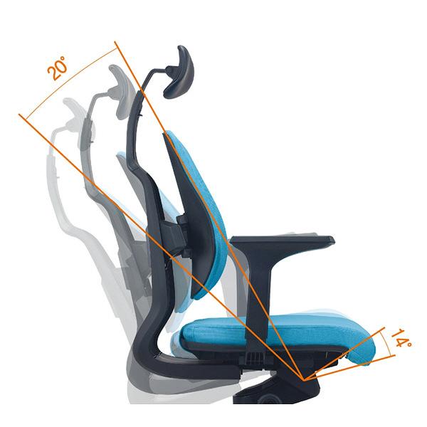 ドリームウェア オフィスチェア D150 DUOREST D2 肘付き ブルー (直送品)