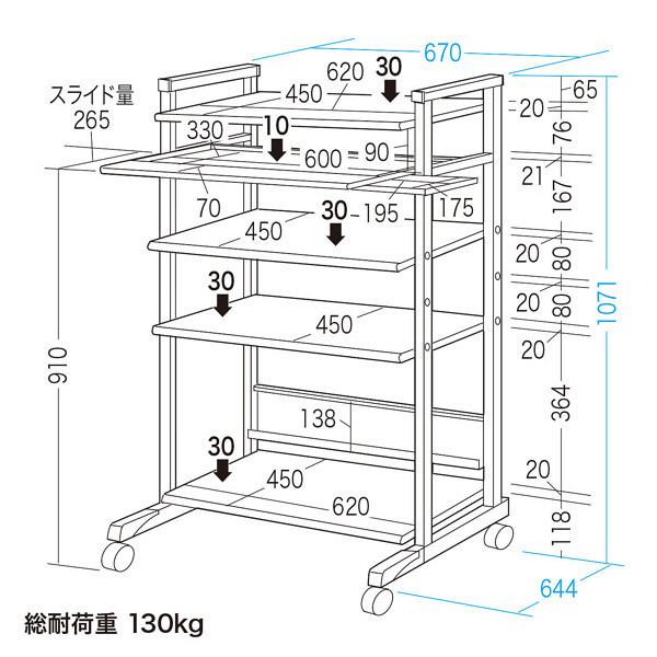 サンワサプライ スチール製ハイスタンドパソコンラック(幅670×奥行644×高さ1071mm) (直送品)