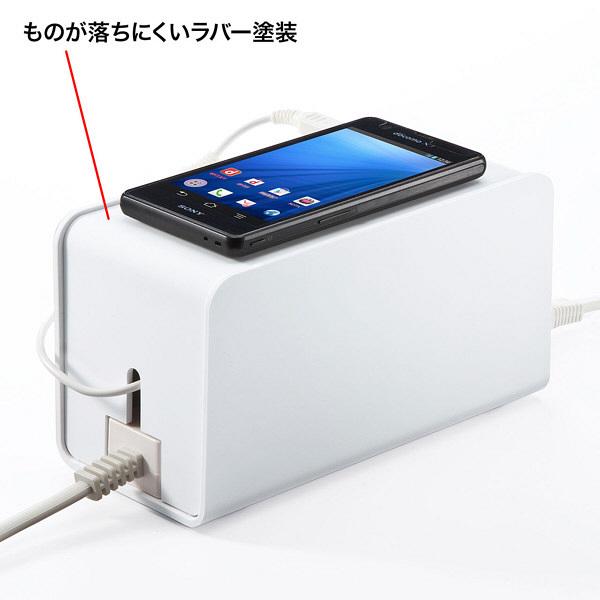サンワサプライ ケーブル&タップ収納ボックス CB-BOXP8W (直送品)