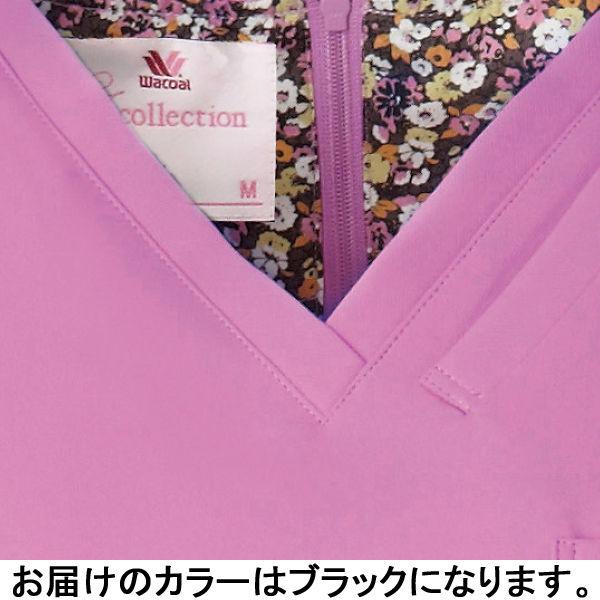 フォーク 医療白衣 ワコールHIコレクション レディススクラブ(後ろジップ) HI700-9 ブラック L (直送品)