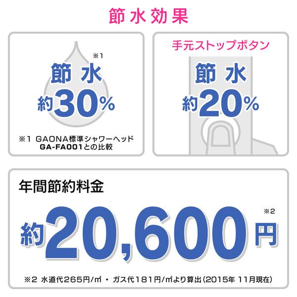 ガオナ シャワーヘッド クリア ストップ (ジェット水流 お掃除簡単 節水30% 低水圧対応) GA-FC028 (直送品)
