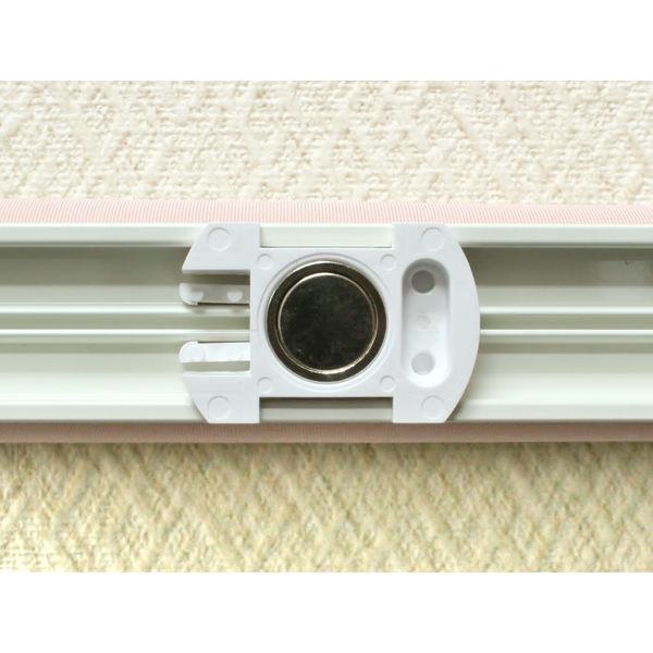 ナプコインテリア シングルロールスクリーン マグネットタイプ プル式 フルーレ 高さ1900×幅1320mm ピンク 1本 (直送品)