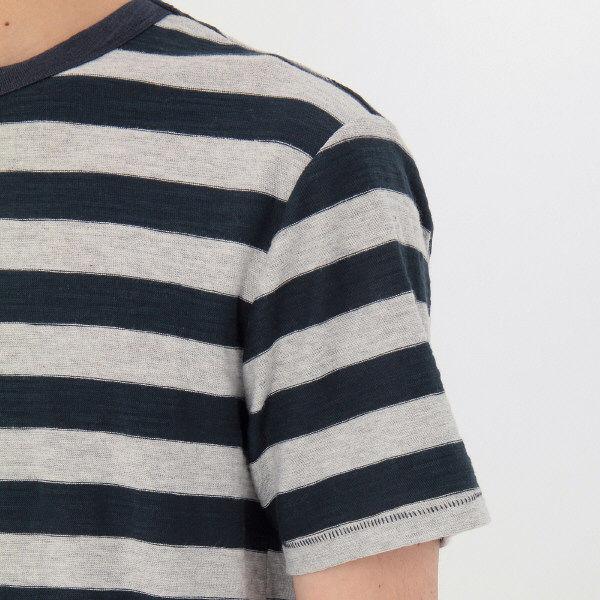 無印 ムラ糸ボーダー半袖Tシャツ 紳士S
