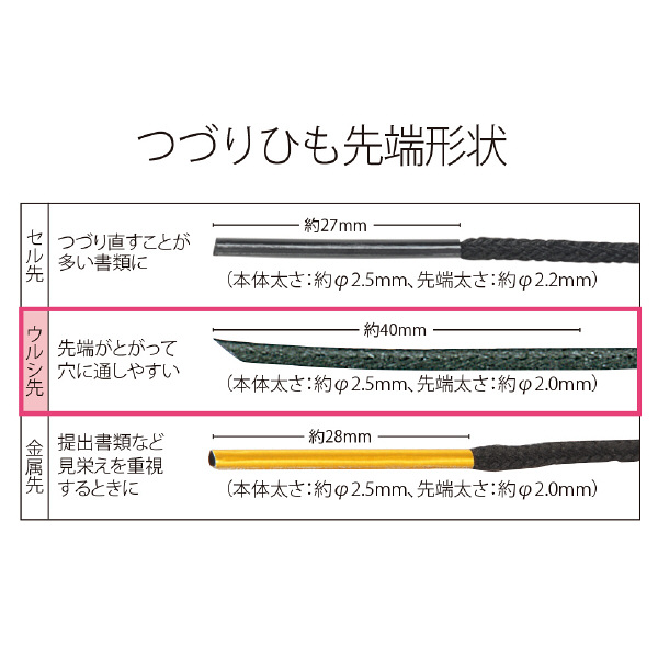 プラス つづりひも ウルシ先 45cm レーヨン 黒 TF-500U 1袋(100本入)