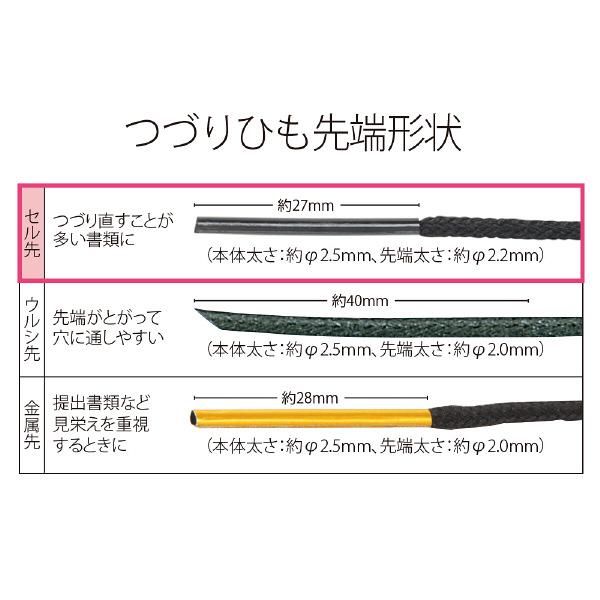 プラス つづりひも セル先 45cm 再生PET 黒 TF-100PR 1セット(500本入)