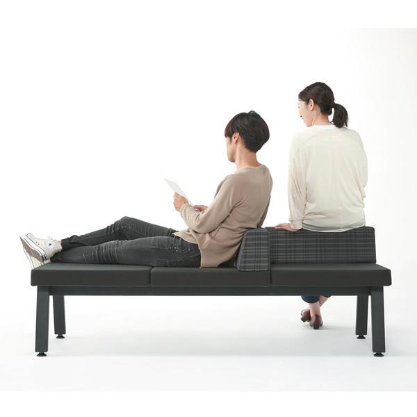 プラス シット&フィールドソファ 2人掛 背付2個 ブラック 1脚(3梱包)
