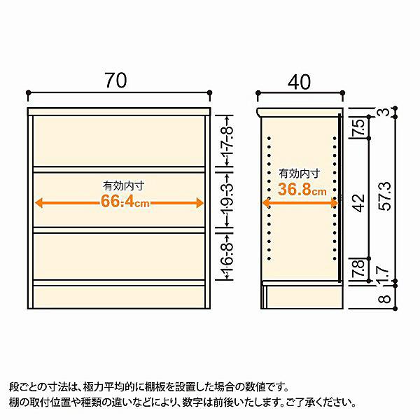 大洋 Shelfit(シェルフィット) エースラック/カラーラックM 幅700×奥行400×高さ700mm ナチュラル 1台 (取寄品)