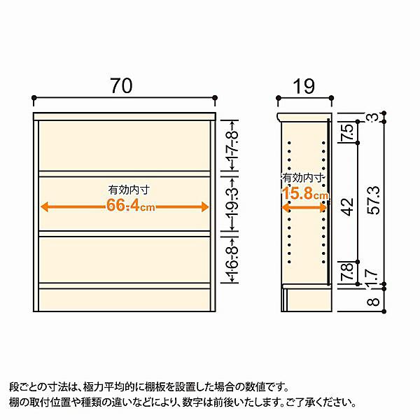 大洋 Shelfit(シェルフィット) エースラック/カラーラックS 幅700×奥行190×高さ700mm ナチュラル 1台 (取寄品)