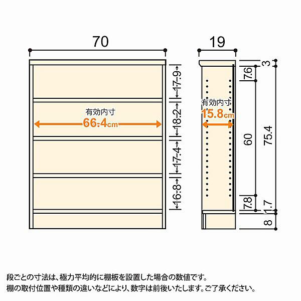 大洋 Shelfit(シェルフィット) エースラック/カラーラックS 幅700×奥行190×高さ881mm ナチュラル 1台 (取寄品)