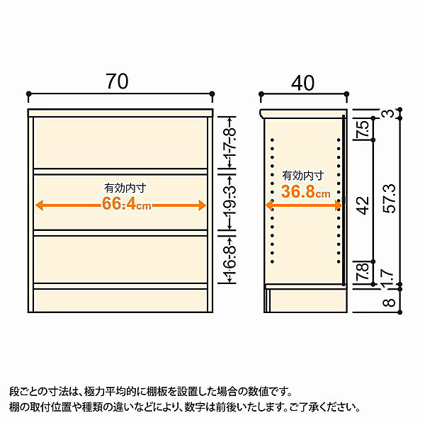 大洋 Shelfit(シェルフィット) エースラック/カラーラックM 幅700×奥行400×高さ700mm ライトナチュラル 1台 (取寄品)