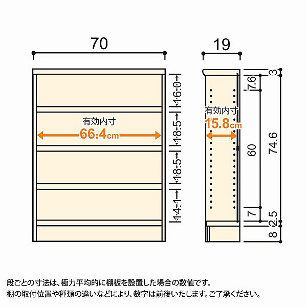 大洋 Shelfit(シェルフィット) エースラック/カラーラックS タフタイプ 幅700×奥行190×高さ900mm ライトナチュラル 1台 (取寄品)
