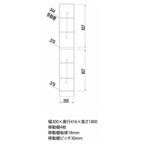 白井産業 壁面収納キャビネット 幅300mm ナチュラル (直送品)