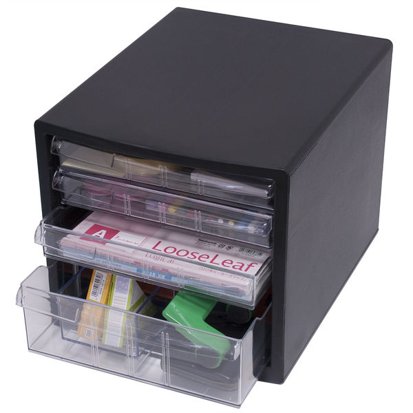 ナカバヤシ 仕切り対応レターケース A4 浅型3段、深型1段 黒 A4E‐S4B 1箱(6台入)