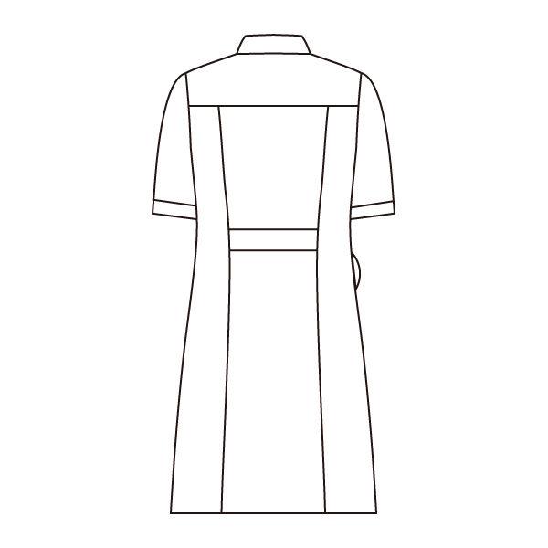 住商モンブラン ラウンドカラーワンピース ナースワンピース 医療白衣 半袖 ホワイト×ネイビー M 73-1958 (直送品)