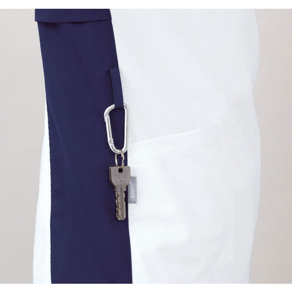 住商モンブラン アシックス スクラブジャケット(男女兼用) 半袖 ホワイト×ネイビー L CHM301-0109 (直送品)
