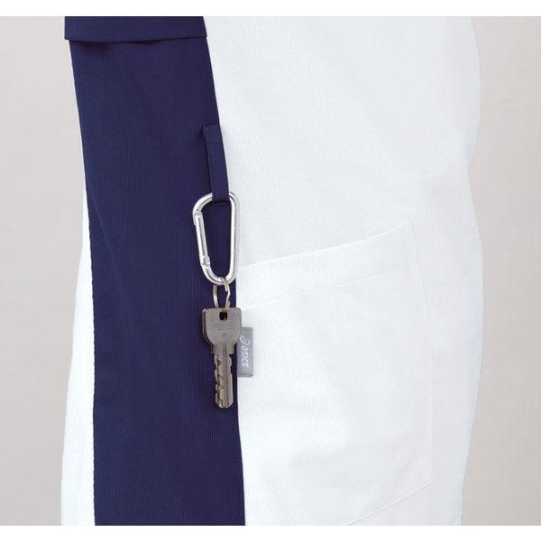 住商モンブラン アシックス スクラブジャケット(男女兼用) 半袖 ホワイト×ネイビー LL CHM301-0109 (直送品)