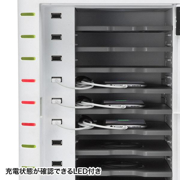 サンワサプライ スマートフォン充電キャビネット(10台収納) CAI-CAB33W (直送品)