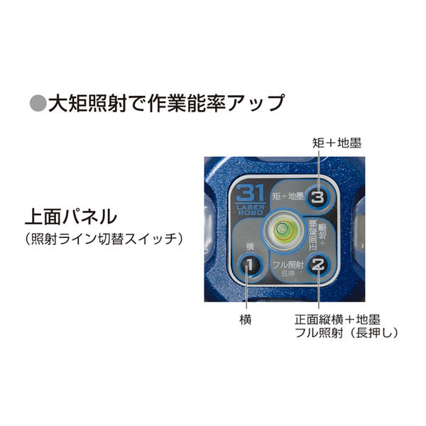 シンワ測定 レーザーロボ Fine 31 BRIGHT 縦・横・大矩・地墨 77466 (直送品)