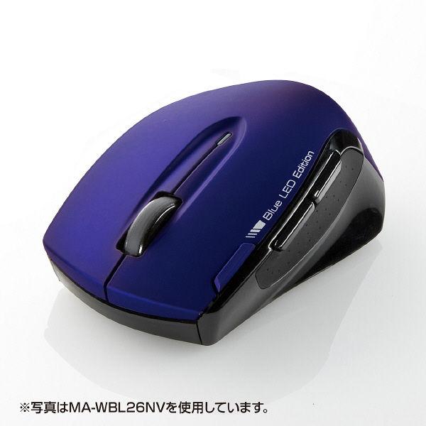 サンワサプライ 無線(ワイヤレス)マウス レッド ブルーLED方式/6ボタン MA-WBL26R (直送品)