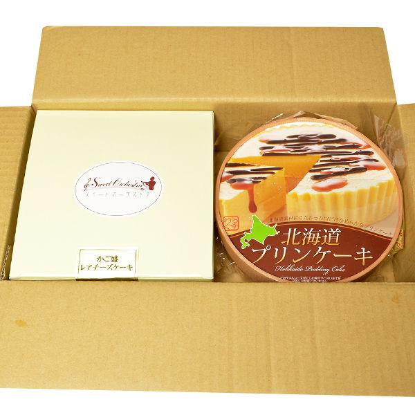 北海道レアチーズケーキとプリンケーキ