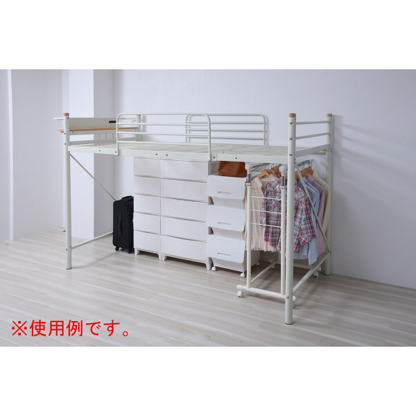 YAMAZEN 宮付きセミロフトベッド 幅1120X奥行2400X高さ1525mm 1台(2梱包) (直送品)