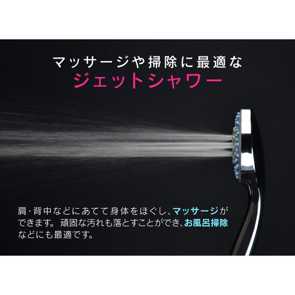 ガオナ シャワーヘッドとホースのセット 4段切替 空気を含んだ泡状のシャワー (節水 マッサージ 掃除 やさしい浴び心地)GA-FH014 (直送品)