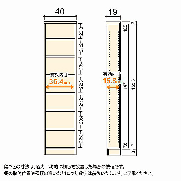 大洋 Shelfit(シェルフィット) エースラック/カラーラックS 幅400×奥行190×高さ1780mm ホワイト 1台 (取寄品)