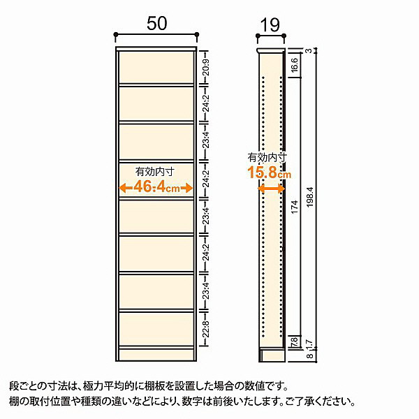 大洋 Shelfit(シェルフィット) エースラック/カラーラックS 幅500×奥行190×高さ2111mm ブラウン 1台 (取寄品)