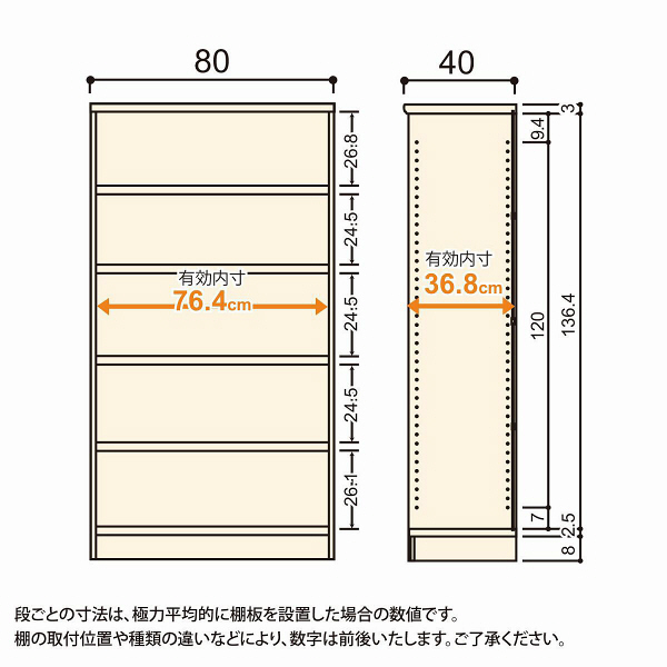 Shelfit(シェルフィット) エースラック/カラーラックM タフタイプ 幅800×奥行400×高さ1499mm ライトナチュラル 1台(2梱包) (取寄品)